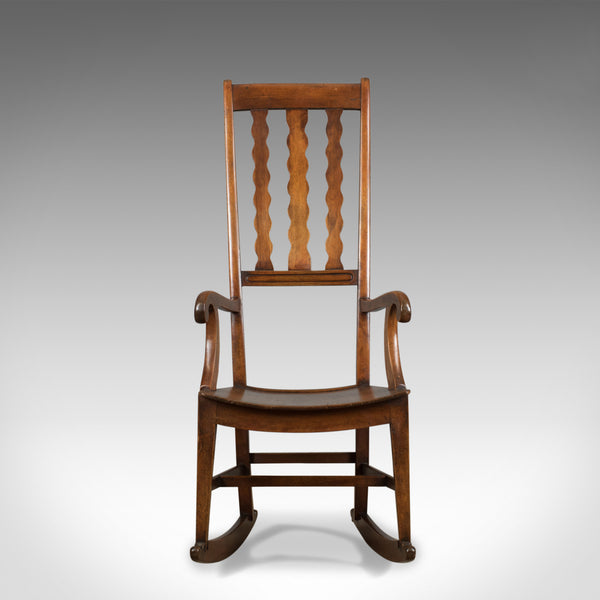 Antique Rocking Chair, English Victorian, Mahogany, Wavy Line, Rocker Circa 1850 - London Fine Antiques