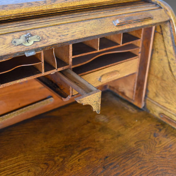 Antique Roll Top Desk, English, Oak, Victorian, Lock, Tambour, Circa 1900 - London Fine Antiques