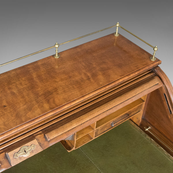 Antique Roll Top Desk, Shannon File Co., English, Walnut, Edwardian Circa 1910 - London Fine Antiques