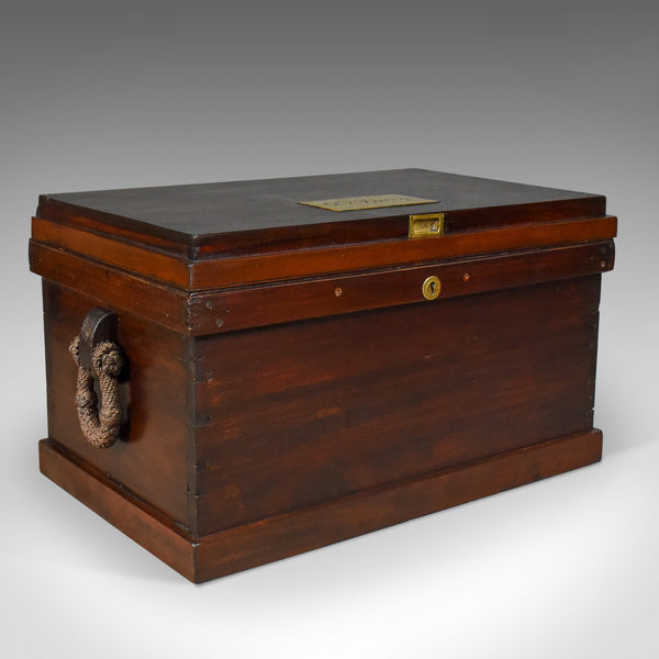 Antique Royal Navy Officer's Trunk, Early 19th Century Mahogany Chest Circa 1800 - London Fine Antiques