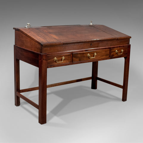 Antique School Masters Desk, English, Georgian, Mahogany, Circa 1800