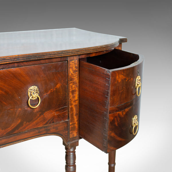 Antique Secretaire, Bow-Fronted Sideboard, Georgian, Mahogany, Circa 1790