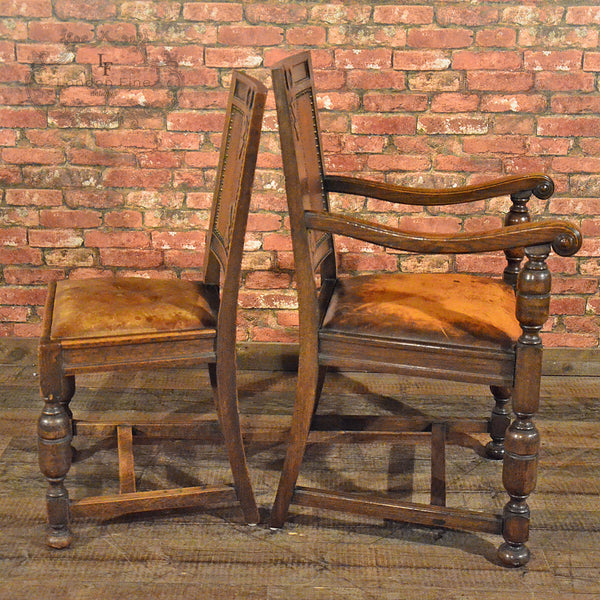 Set of 14 Gothic Revival Oak Dining Chairs - London Fine Antiques