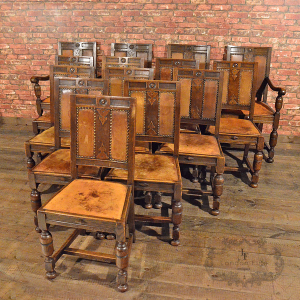 Set of 14 Gothic Revival Oak Dining Chairs - London Fine Antiques - 2