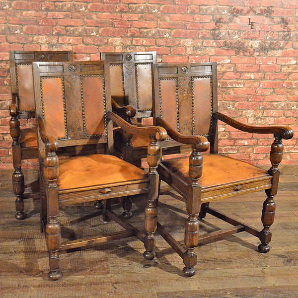 Set of 14 Gothic Revival Oak Dining Chairs - London Fine Antiques - 3