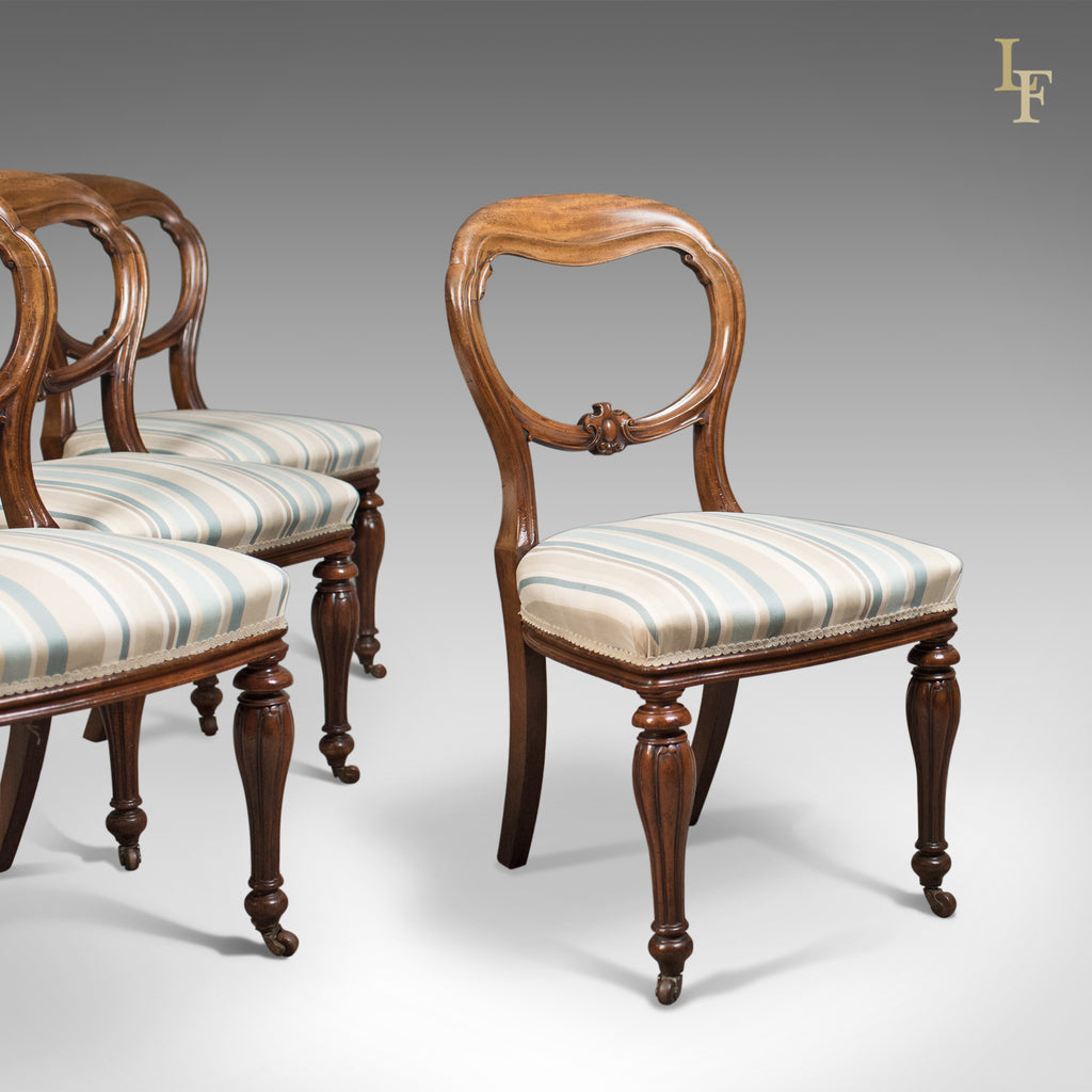 Antique Set of 4 Dining Chairs, Early Victorian Balloon Back, Mahogany, c.1840