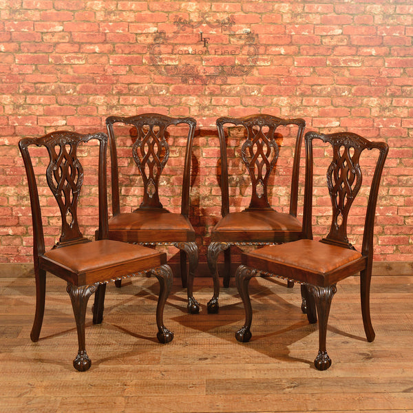 Victorian Set of 4 Chippendale Revival Dining Chairs - London Fine Antiques - 1