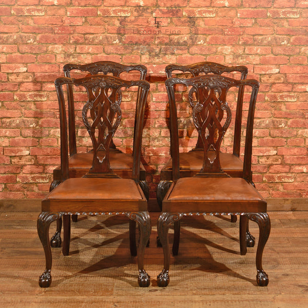 Victorian Set of 4 Chippendale Revival Dining Chairs - London Fine Antiques - 2