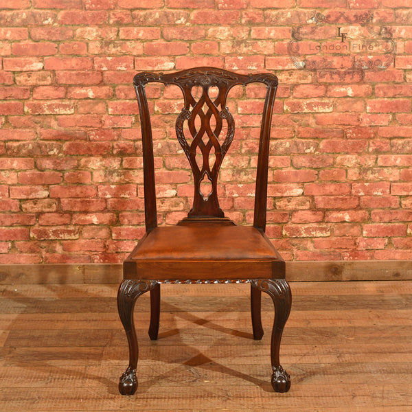 Victorian Set of 4 Chippendale Revival Dining Chairs - London Fine Antiques - 3