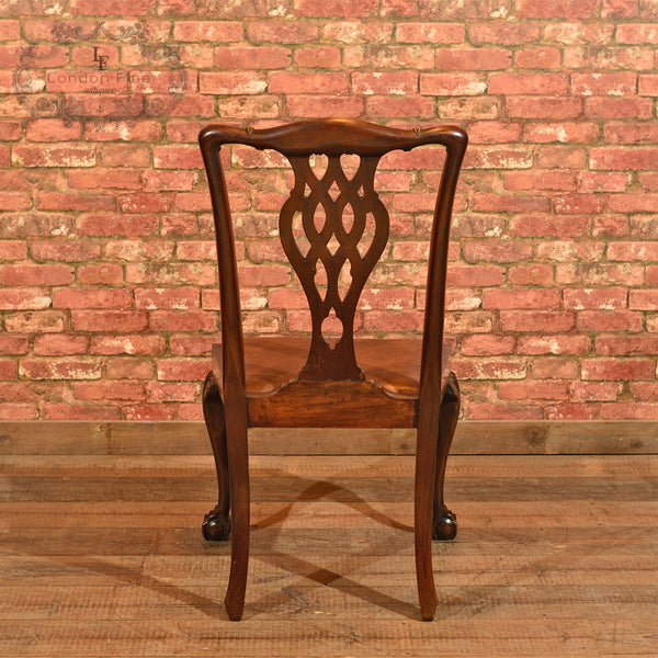 Victorian Set of 4 Chippendale Revival Dining Chairs - London Fine Antiques - 5