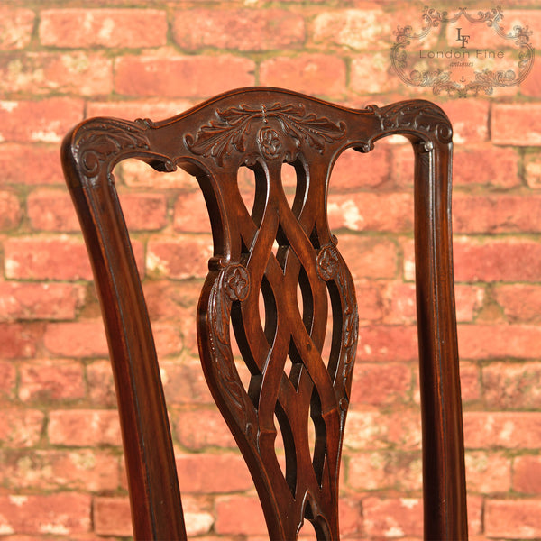 Victorian Set of 4 Chippendale Revival Dining Chairs - London Fine Antiques
