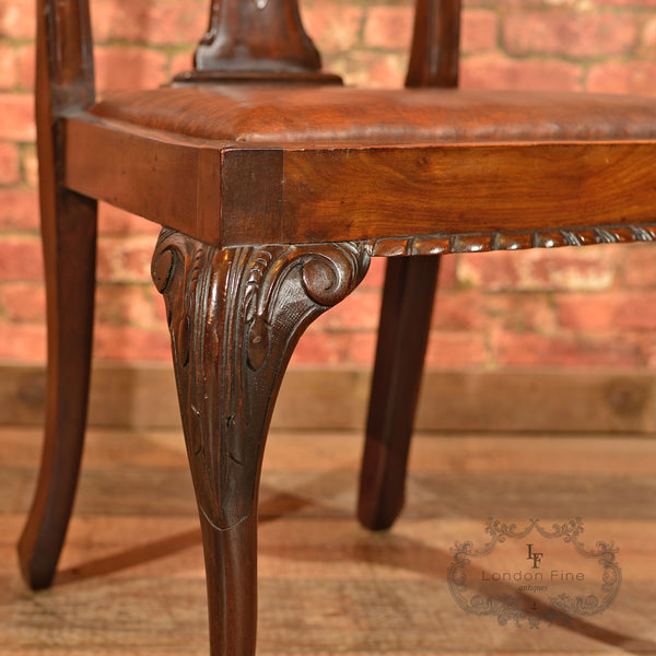 Victorian Set of 4 Chippendale Revival Dining Chairs - London Fine Antiques - 7
