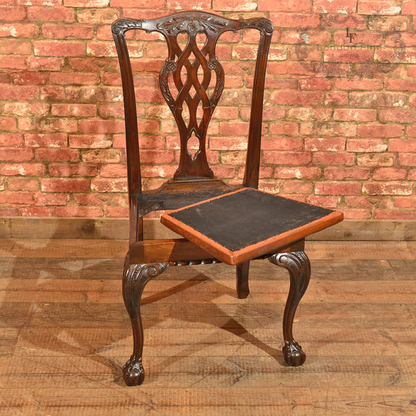 Victorian Set of 4 Chippendale Revival Dining Chairs - London Fine Antiques - 9