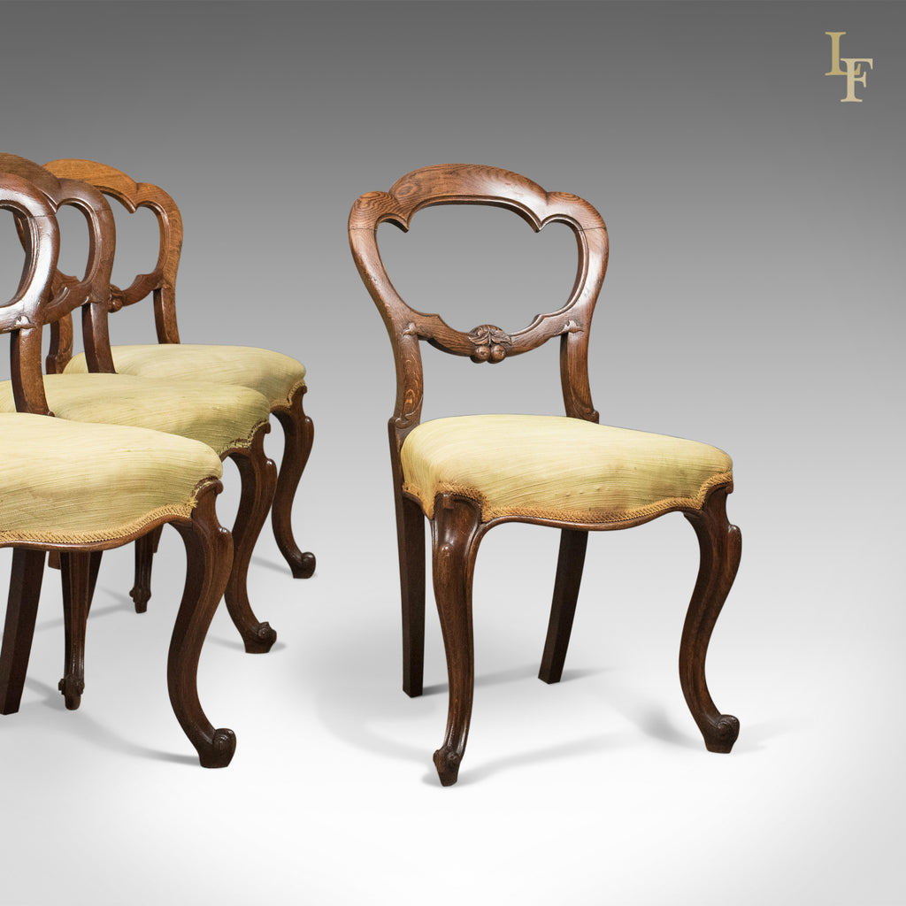 Antique Set of 4 Oak Dining Chairs, English, Victorian, Balloon Back, c.1860 - London Fine Antiques