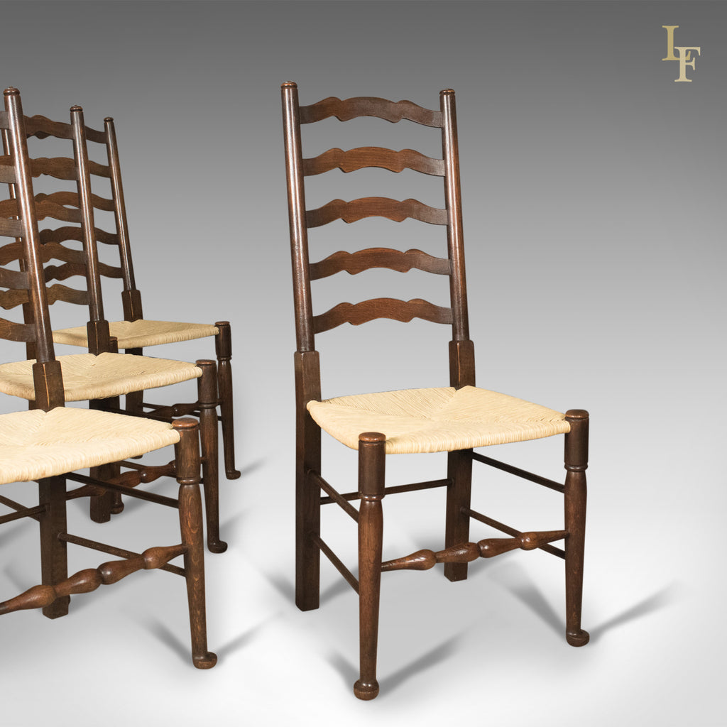 Antique Set of 4 'Wavy Line' Ladder Back Dining Chairs, Edwardian c.1910 - London Fine Antiques