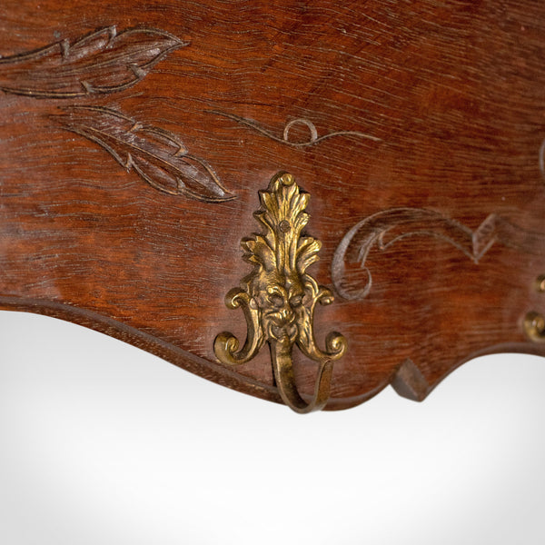 Antique Set of Coat Hooks, Edwardian, Wall Mounted, Hall Shelf, Walnut c.1910 - London Fine Antiques