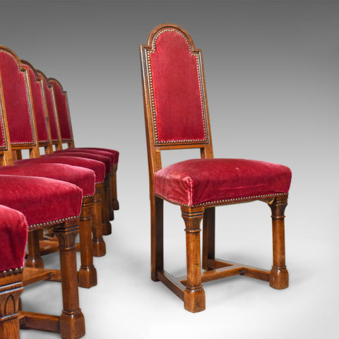 Antique Set of Eight Dining Chairs, English Oak, Red, Victorian Gothic c1860
