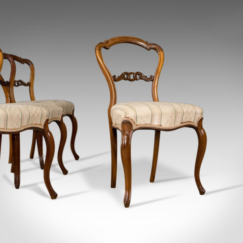Antique Set of Four Dining Chairs, English, Victorian, Rosewood Circa 1840