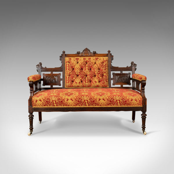 Antique Settee, Victorian Button Back Sofa, Walnut, 19th Century Circa 1880 - London Fine Antiques
