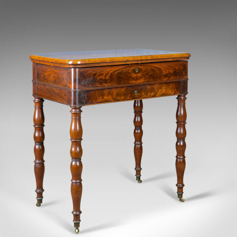 Antique Sewing Table, English, Victorian, Flame Mahogany, Side, C19th, c.1840 - London Fine Antiques