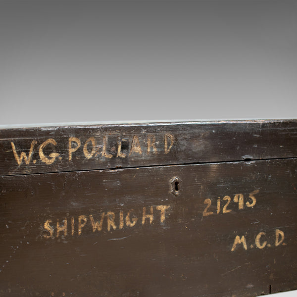 Antique Shipwright's Chest, Pine Tool Box Trunk, W.G. Pollard Early 20th Century