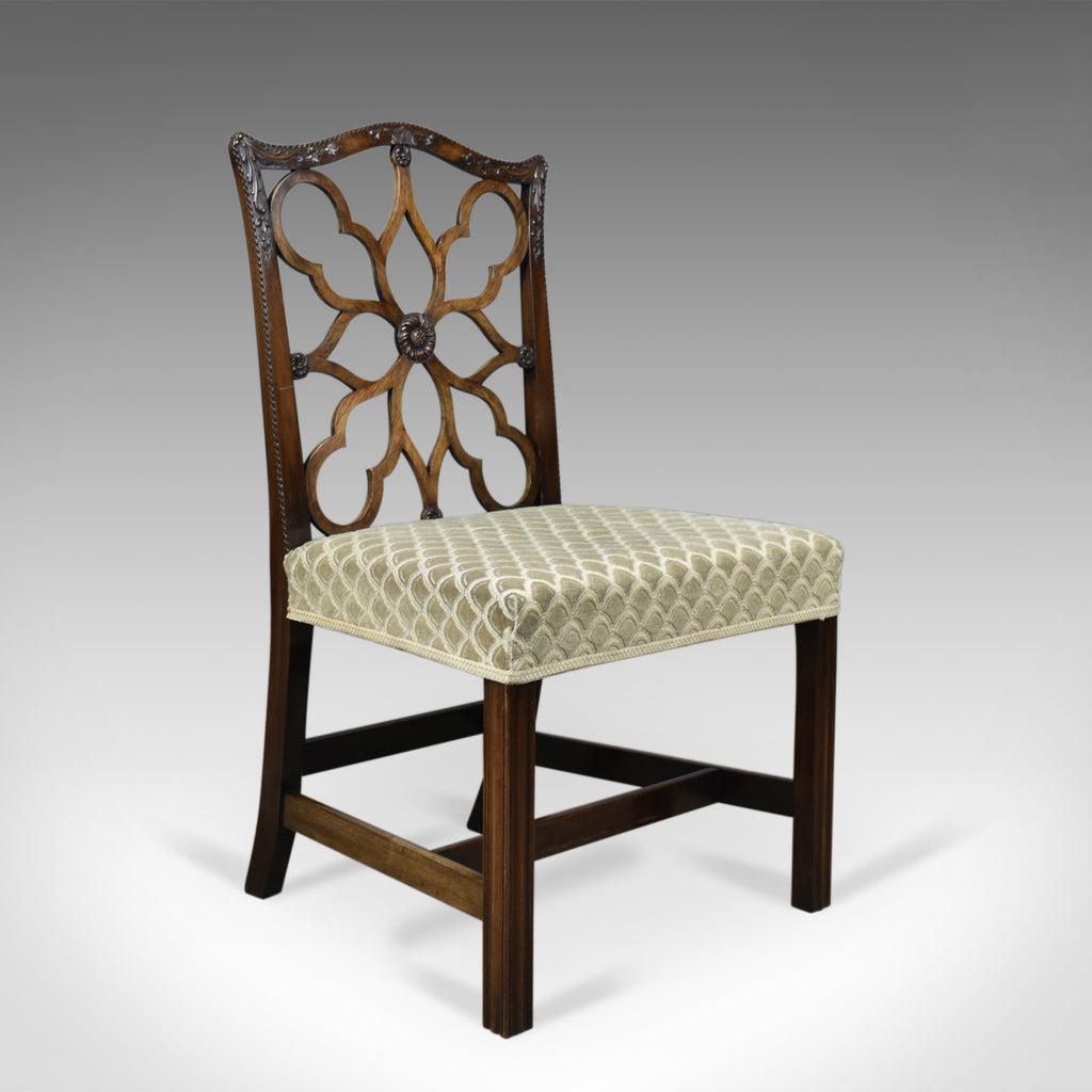 Antique Side Chair, Victorian, English, Mahogany, Chippendale Revival Circa 1900