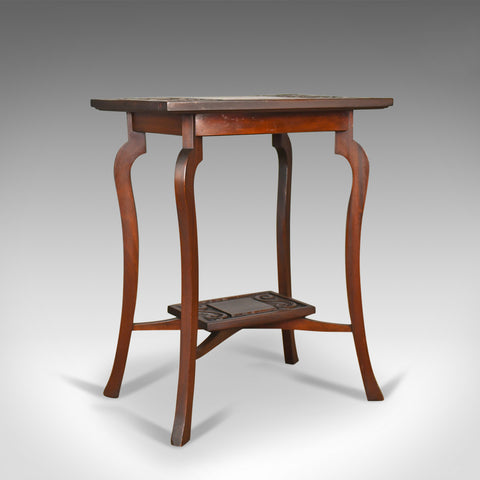 Antique Side Table, Art Nouveau Overtones, English, Mahogany, Circa 1900
