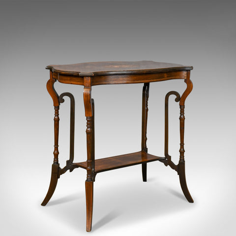 Antique Side Table, English, Edwardian, Lamp, Rosewood, Circa 1910