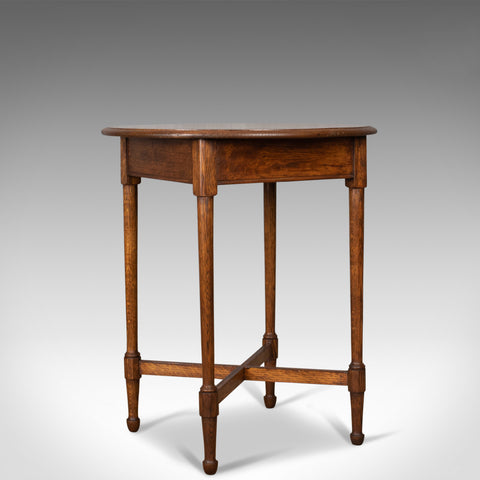 Antique Side Table, English, Edwardian, Oak, Lamp, Circa 1910 - London Fine Antiques
