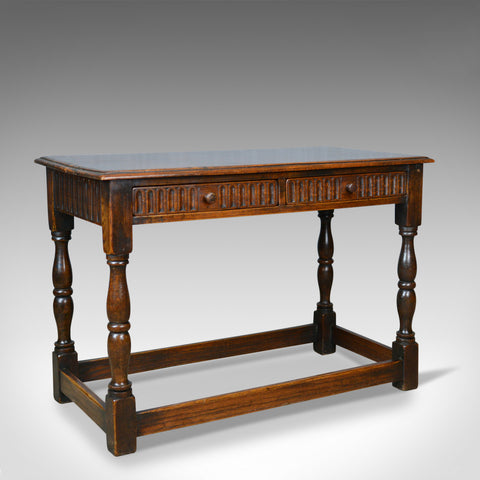 Antique Side Table, English, Oak, C17th Revival, Console, Serving, Circa 1910