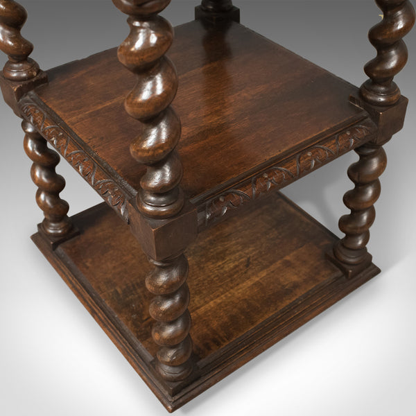 Antique Side Table, murphY67 English Oak Stand,  Whatnot c.1880 - London Fine Antiques