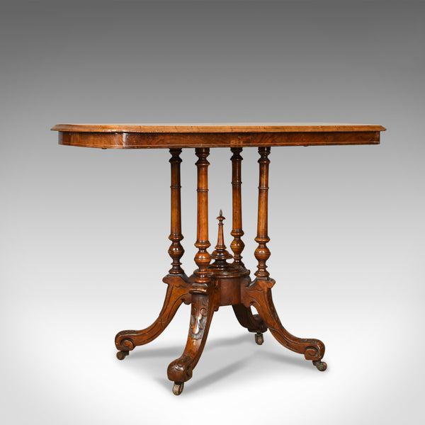 Antique Side Table, English, Victorian, Lamp, Burr Walnut, Circa 1870 - London Fine Antiques