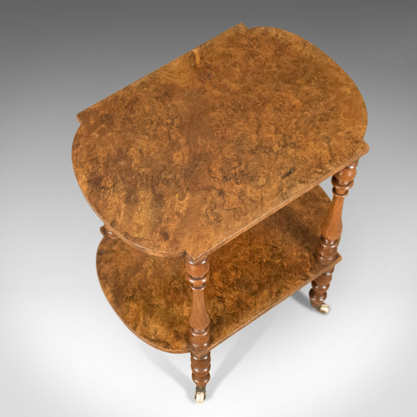 Antique Side Table, English, Victorian, Two Tier, Burr Walnut Circa 1870 - London Fine Antiques