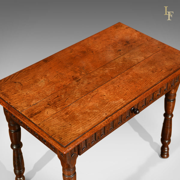 Victorian Oak Antique Side Table, c.1860 - London Fine Antiques