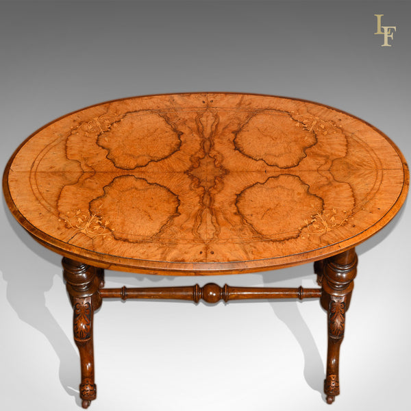 Victorian Burr Walnut Antique Stretcher Table, c.1850 - London Fine Antiques