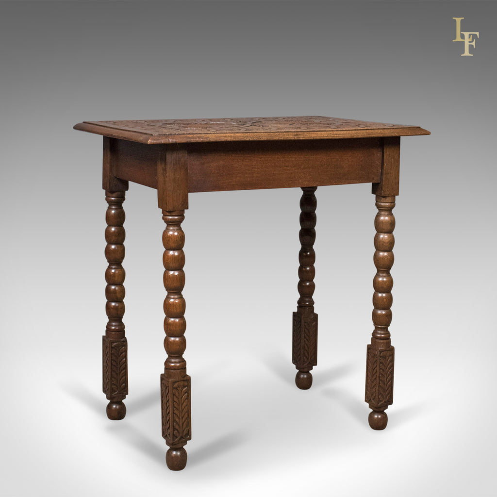 Antique Side Table with Carved Decoration, English Oak, 1908 - London Fine Antiques