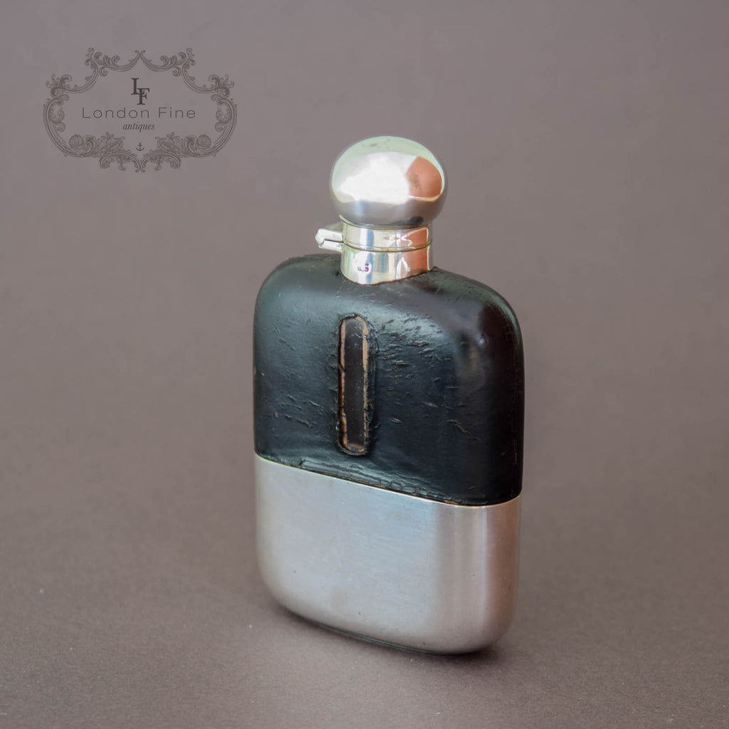 Antique Silvered Hip Flask, James Dixon & Sons c.1880 - London Fine Antiques