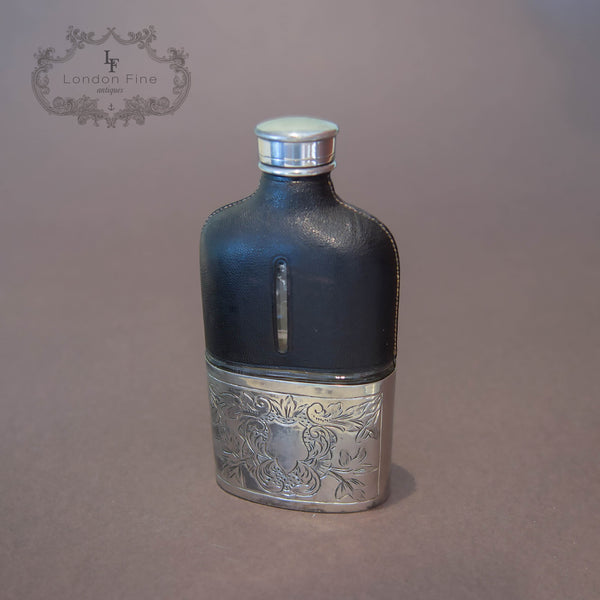 Antique Silvered Hip Flask, K.P. c.1900 - London Fine Antiques
