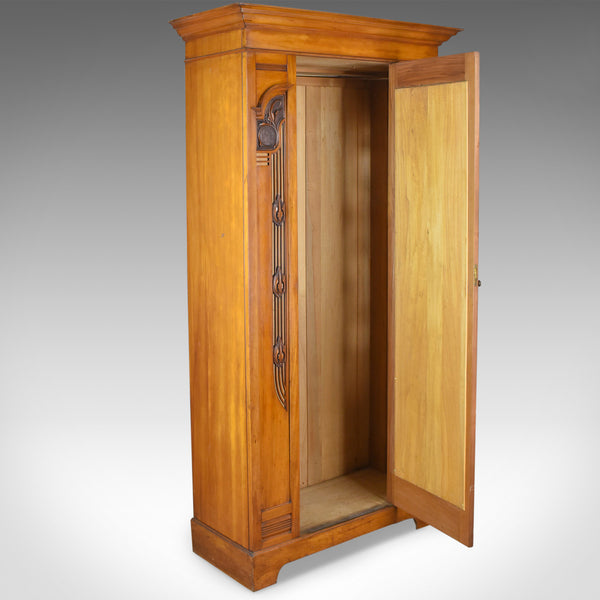 Antique Single Wardrobe, Satinwood, English, Compactum, Art Nouveau Circa 1920 - London Fine Antiques