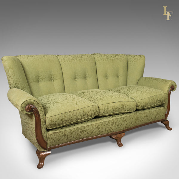 Antique Sofa, English Green Edwardian 3 Seater Settee, c.1910 - London Fine Antiques