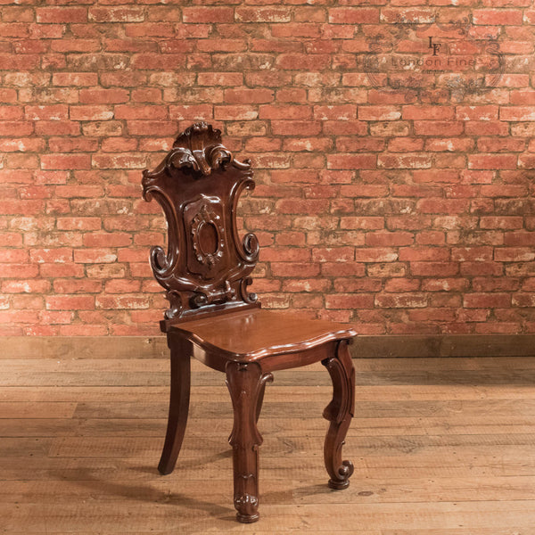 Victorian Solid Shield Back Hall Chair, c.1880 - London Fine Antiques - 1