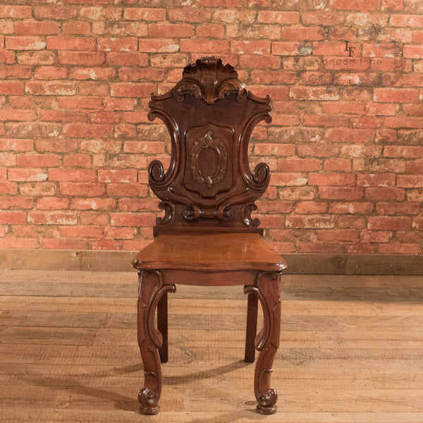 Victorian Solid Shield Back Hall Chair, c.1880 - London Fine Antiques - 2