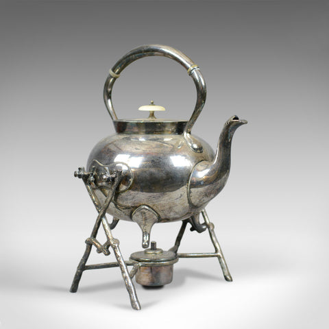 Antique Spirit Kettle on Stand, Decorative, Silver Plated, Tea Pot Early C20th - London Fine Antiques