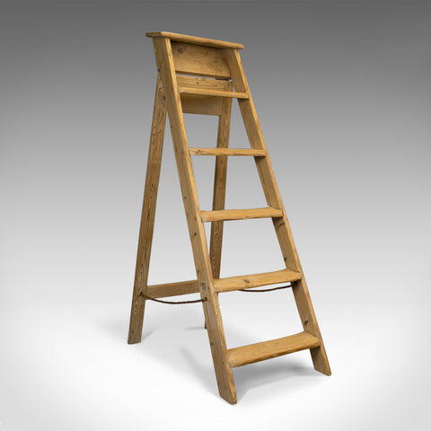 Antique Step Ladder, English, Victorian, Pine, Set of Steps, Display, Circa 1900