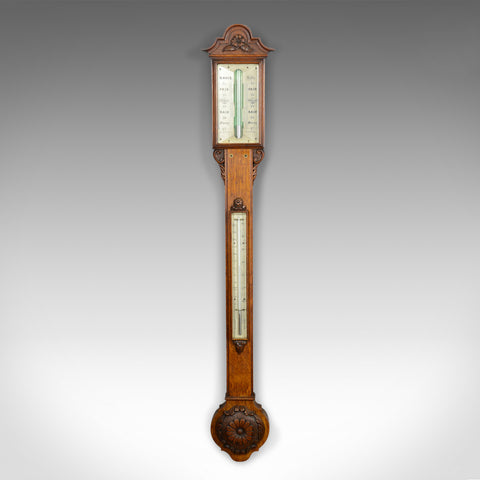 Antique Stick Barometer, Davis Leeds, English, Oak, Scientific Instrument c.1830