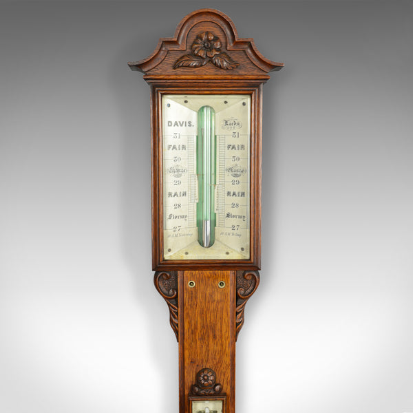 Antique Stick Barometer, Davis Leeds, English, Oak, Scientific Instrument c.1830 - London Fine Antiques