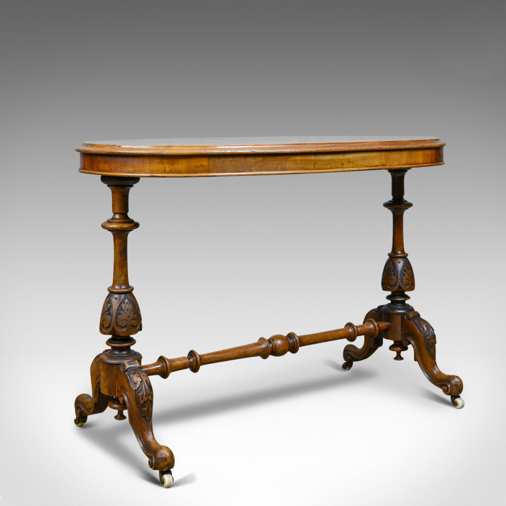 Antique Stretcher Table, Burr Walnut, English, Victorian, Oval, Side, Tea, c1860 - London Fine Antiques