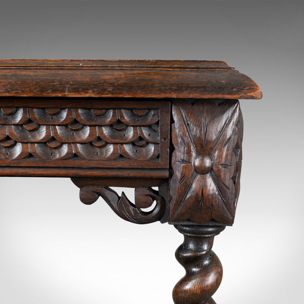 Antique Table, Scottish, Oak, Carved, Barley Twist, Side, Circa 1880 - London Fine Antiques