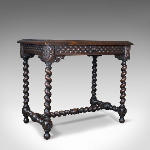 Antique Table, Scottish, Oak, Carved, Barley Twist, Side, Circa 1880