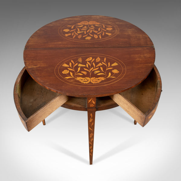 Antique Tea Table, Dutch, Fold-Over, Inlaid, Mahogany, Side, Circa 1780